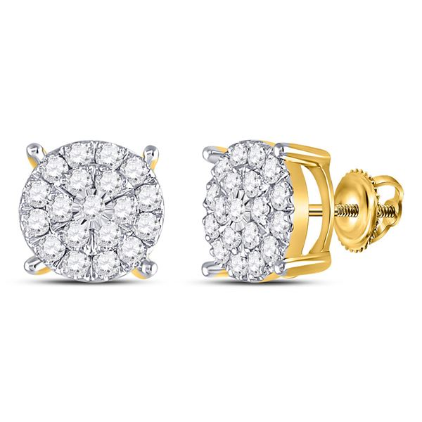 Round Diamond Fashion Cluster Earrings 1 Cttw 10KT Yellow Gold