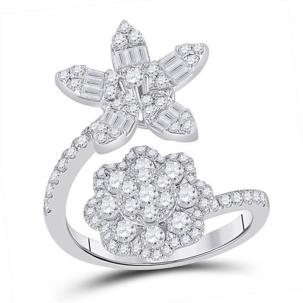 Baguette Diamond Bypass Flower Cocktail Ring 1-1/3 Cttw 14KT White Gold