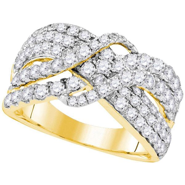 Round Diamond Crossover Cocktail Ring 2 Cttw 14KT Yellow Gold