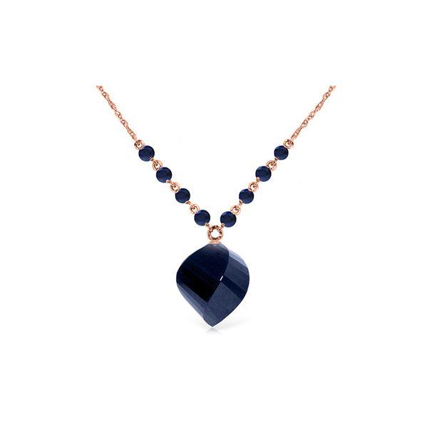Genuine 16.25 ctw Sapphire Necklace 14KT Rose Gold - REF-46Z2N