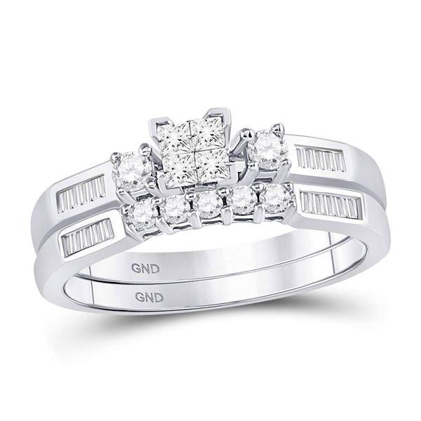 Bridal Wedding Ring Band Set 3/8 Cttw 10KT White Gold