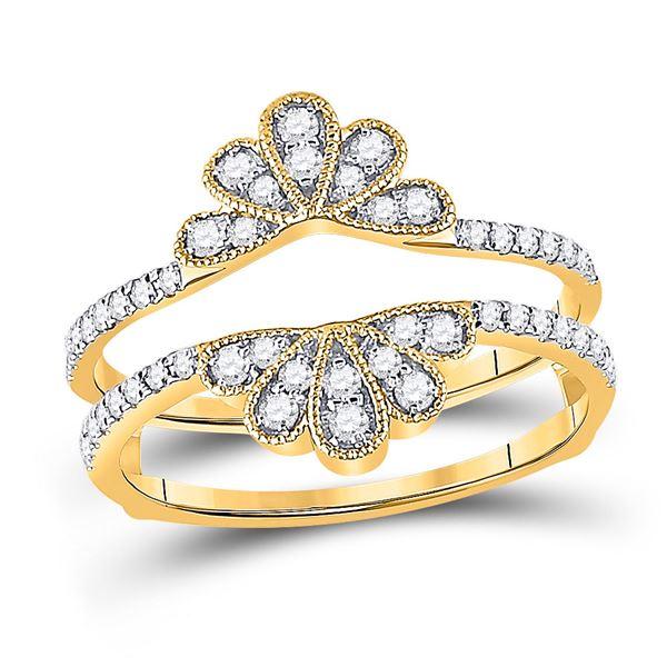 Round Diamond Wedding Wrap Ring Guard Enhancer 3/8 Cttw 14KT Yellow Gold