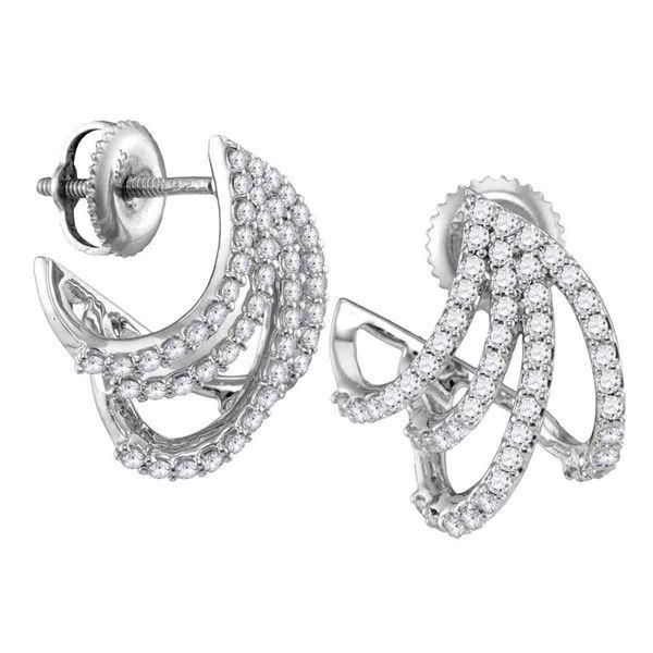 Round Diamond Lobe Huggie Earrings 1/2 Cttw 10KT White Gold