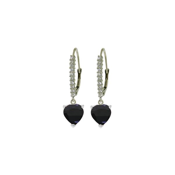 Genuine 3.4 ctw Sapphire & Diamond Earrings 14KT White Gold - REF-75M6T