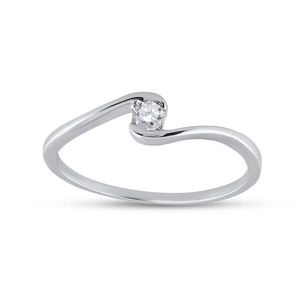 Round Diamond Solitaire Promise Ring 1/20 Cttw 10KT White Gold