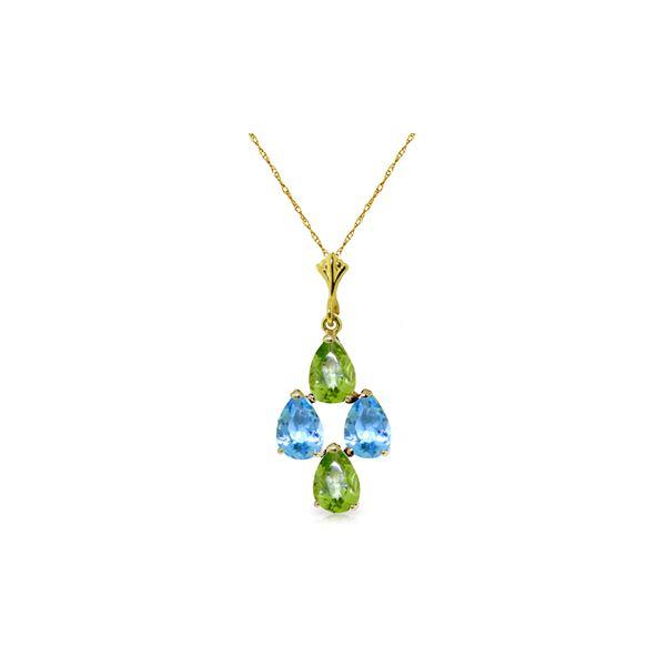 Genuine 1.50 ctw Blue Topaz & Peridot Necklace 14KT Yellow Gold - REF-20F4Z