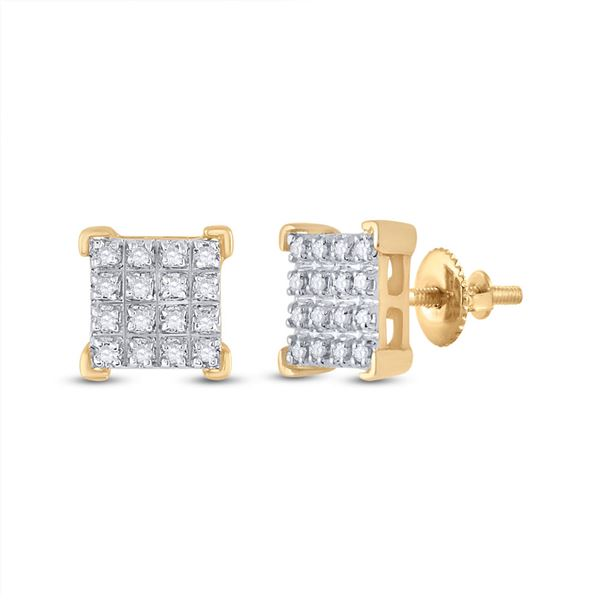 Round Diamond Square Earrings 1/10 Cttw 10KT Yellow Gold