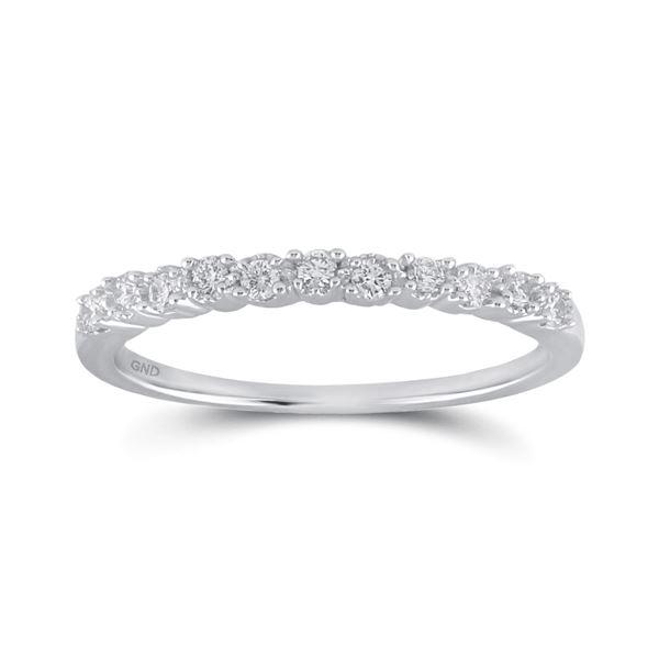 Round Diamond Single Row Band Ring 1/6 Cttw 10KT White Gold