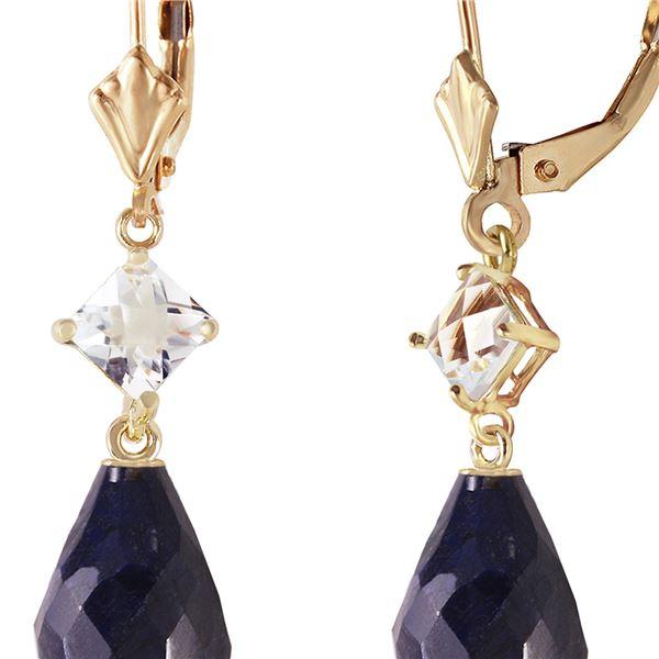 Genuine 18.6 ctw Sapphire & White Topaz Earrings 14KT Yellow Gold - REF-46Y7F