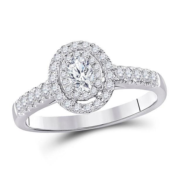 Halo Bridal Wedding Engagement Ring 1/2 Cttw 14KT White Gold