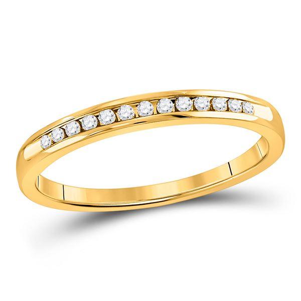 Round Diamond Wedding Single Row Band 1/10 Cttw 14KT Yellow Gold