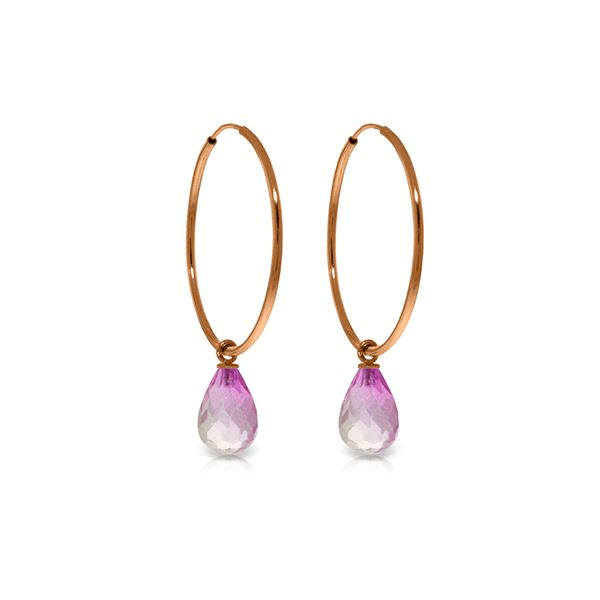Genuine 4.5 ctw Pink Topaz Earrings 14KT Rose Gold - REF-26W2Y