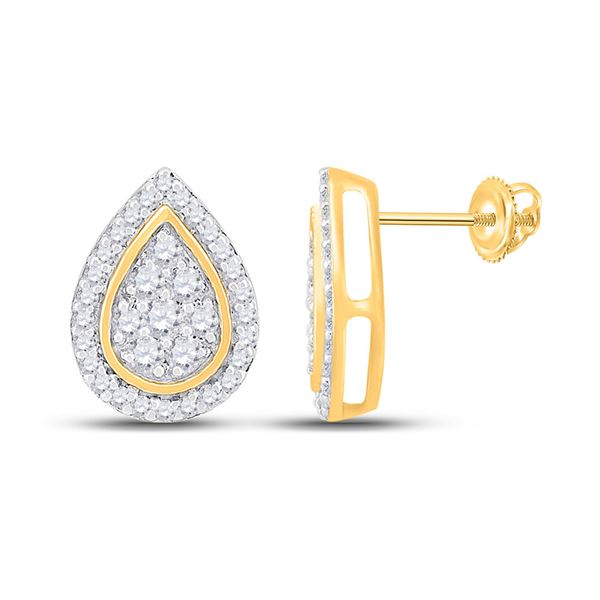 Round Diamond Teardrop Earrings 1/3 Cttw 10KT Yellow Gold