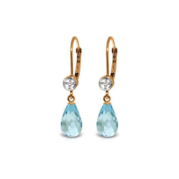 Genuine 4.53 ctw Blue Topaz & Diamond Earrings 14KT Rose Gold - REF-29F3Z