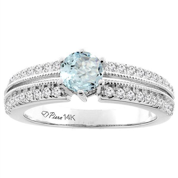1.10 CTW Aquamarine & Diamond Ring 14K White Gold - REF-69V2R