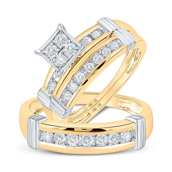 Diamond Square Matching Wedding Set 5/8 Cttw 10KT Yellow Gold
