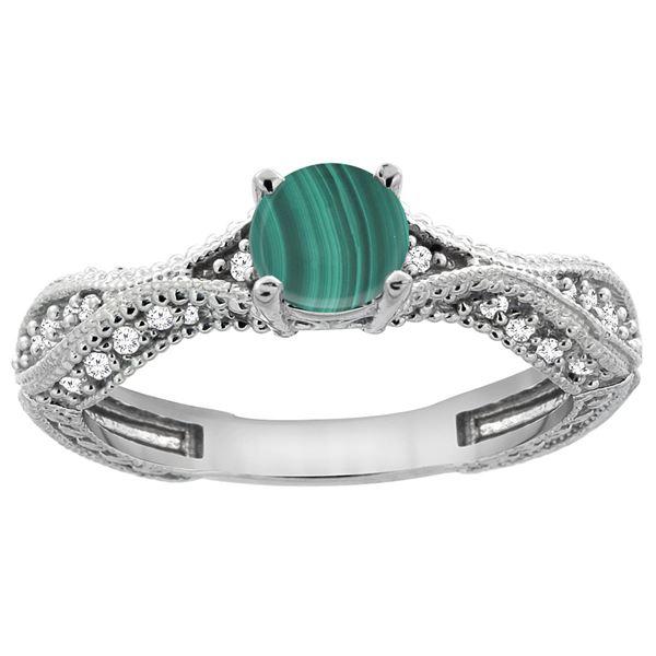 1.61 CTW Malachite & Diamond Ring 14K White Gold - REF-67W9F