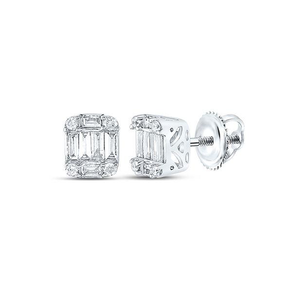 Baguette Diamond Fashion Cluster Earrings 1/4 Cttw 14KT White Gold