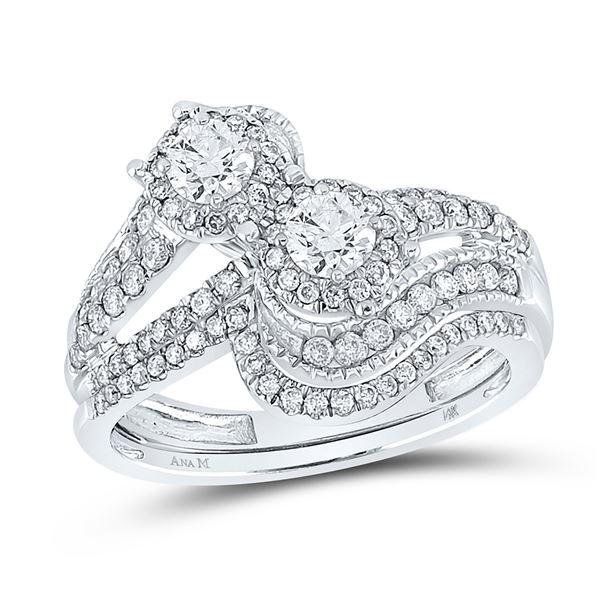 Diamond Bridal Wedding Ring Band Set 1 Cttw 14KT White Gold