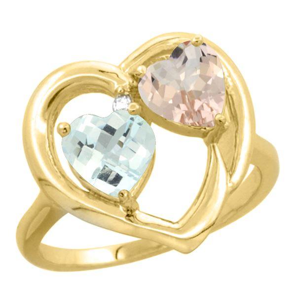1.91 CTW Diamond, Aquamarine & Morganite Ring 10K Yellow Gold - REF-30K6W