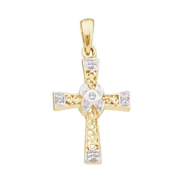 Round Diamond Bounded Cross Pendant 1/20 Cttw 10KT Yellow Gold
