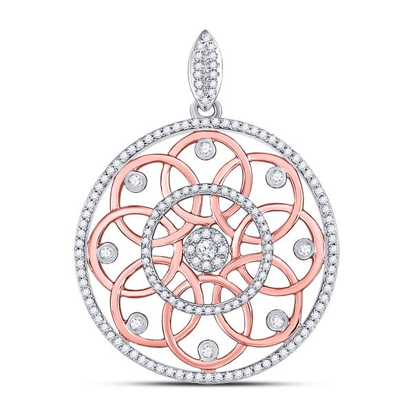 Round Diamond Circle Pendant 1/2 Cttw 10KT Two-tone Gold
