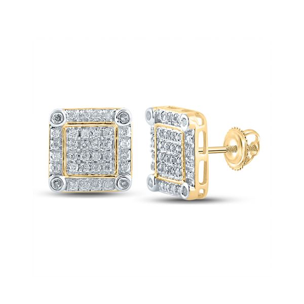 Round Diamond Square Earrings 1/4 Cttw 10KT Yellow Gold