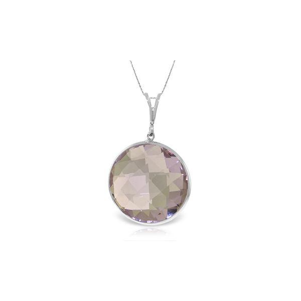 Genuine 18 ctw Amethyst Necklace 14KT White Gold - REF-55V5W