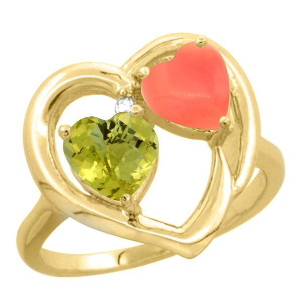 1.31 CTW Lemon Quartz & Diamond Ring 14K Yellow Gold - REF-33A2X