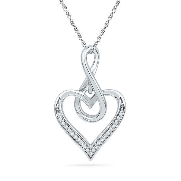Round Diamond Infinity Heart Pendant 1/20 Cttw 10KT White Gold