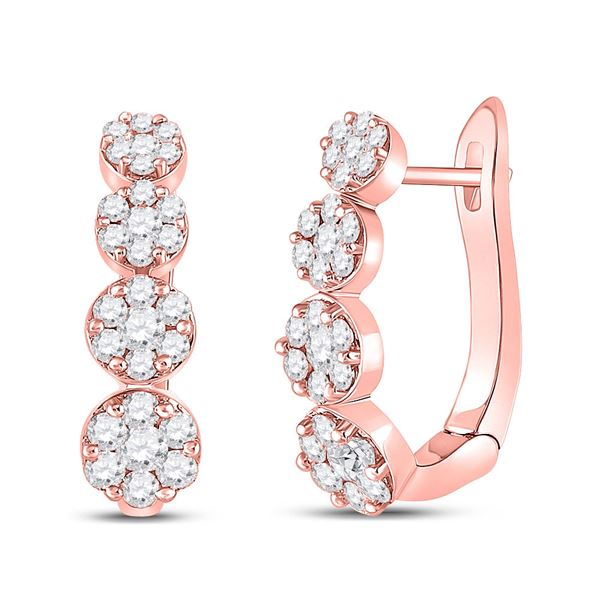 Round Diamond Flower Cluster Hoop Earrings 1-1/4 Cttw 14KT Rose Gold