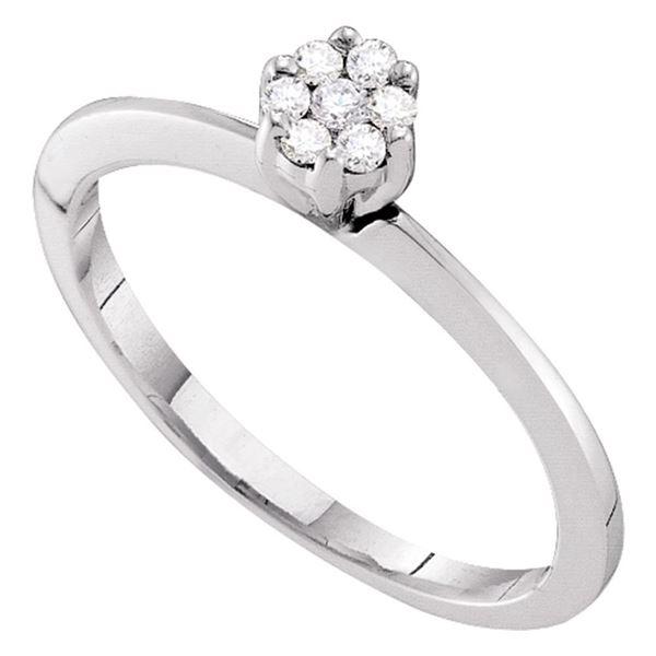 Round Diamond Flower Cluster Ring 1/8 Cttw 10KT White Gold