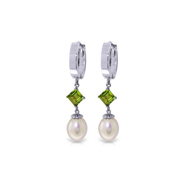 Genuine 9.5 ctw Pearl & Peridot Earrings 14KT White Gold - REF-53R2P