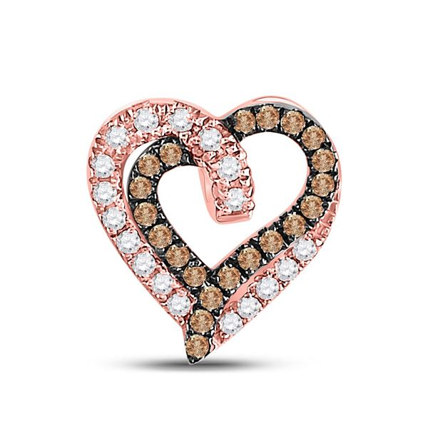 Round Brown Diamond Heart Pendant 1/3 Cttw 10KT Rose Gold