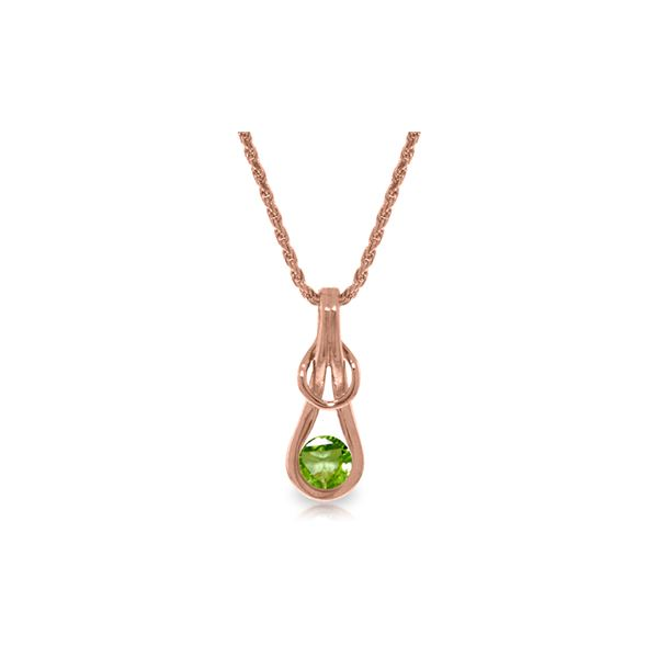 Genuine 0.65 ctw Peridot Necklace 14KT Rose Gold - REF-73X7M