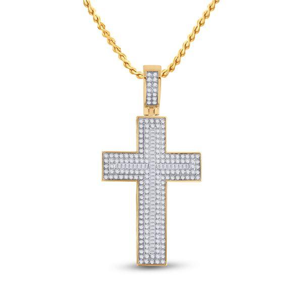 Baguette Diamond Cross Charm Pendant 2-3/4 Cttw 10KT Yellow Gold