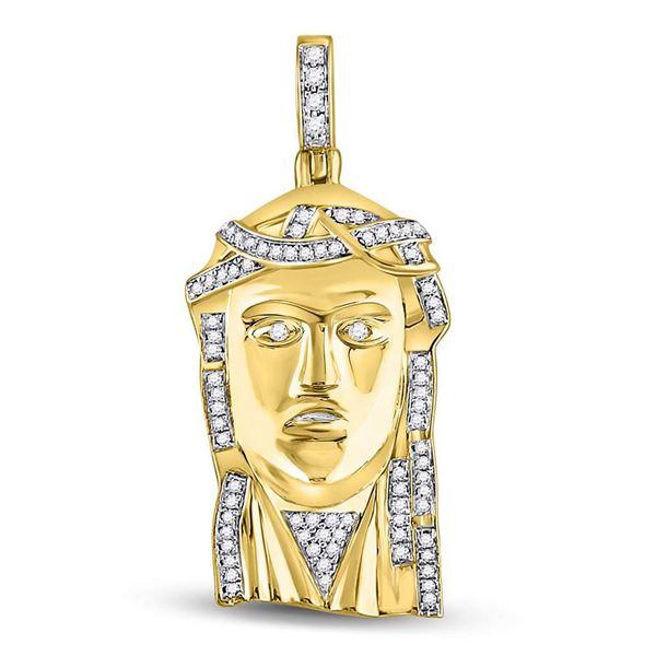 Round Diamond Jesus Face Charm Pendant 1/4 Cttw 10KT Yellow Gold