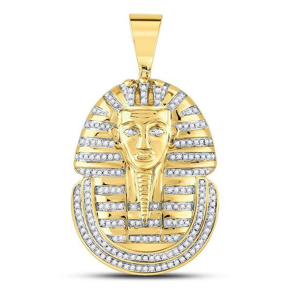 Round Diamond Pharaoh Face Charm Pendant 5/8 Cttw 10KT Yellow Gold