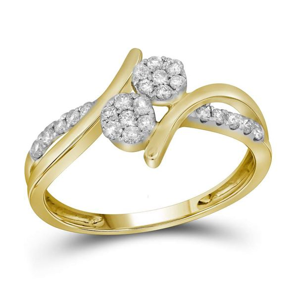 Diamond Double Cluster Bridal Wedding Engagement Ring 1/3 Cttw 14KT Yellow Gold
