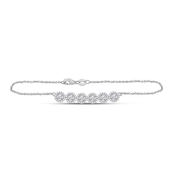 Round Diamond Circle Cluster Chain Halo Bracelet 1 Cttw 14KT White Gold