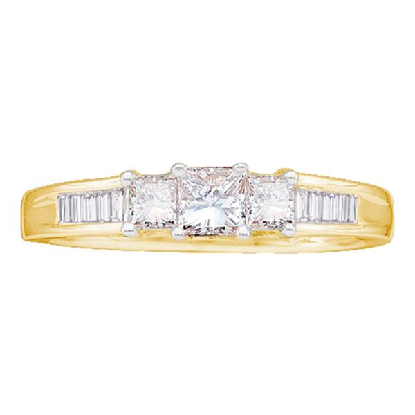 3-stone Bridal Wedding Engagement Ring 1/2 Cttw 14KT Yellow Gold