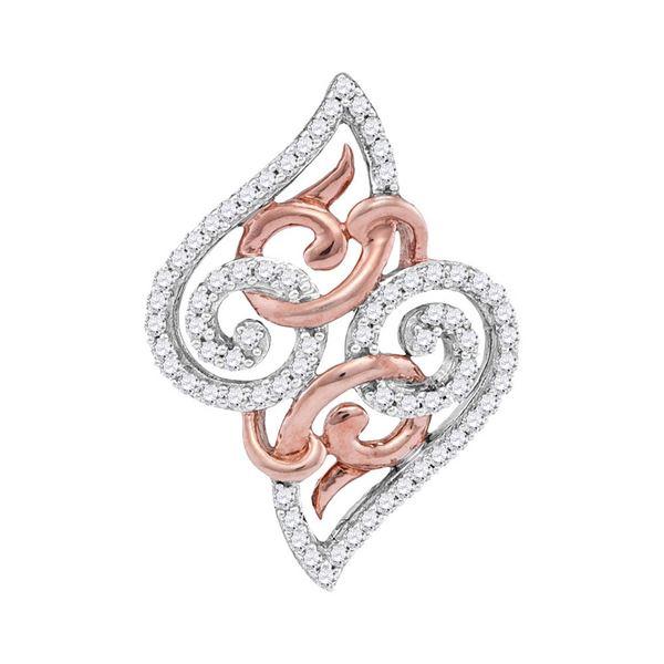 Round Diamond Curl Fashion Pendant 1/5 Cttw 10KT Two-tone Gold