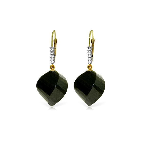 Genuine 31.15 ctw Black Spinel & Diamond Earrings 14KT Yellow Gold - REF-50F5Z