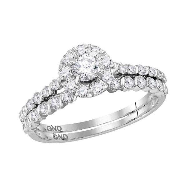 Diamond Halo Bridal Wedding Ring Band Set 1 Cttw 14KT White Gold