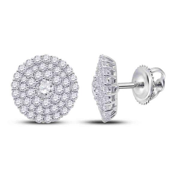 Round Diamond Cluster Earrings 1 Cttw 14KT White Gold