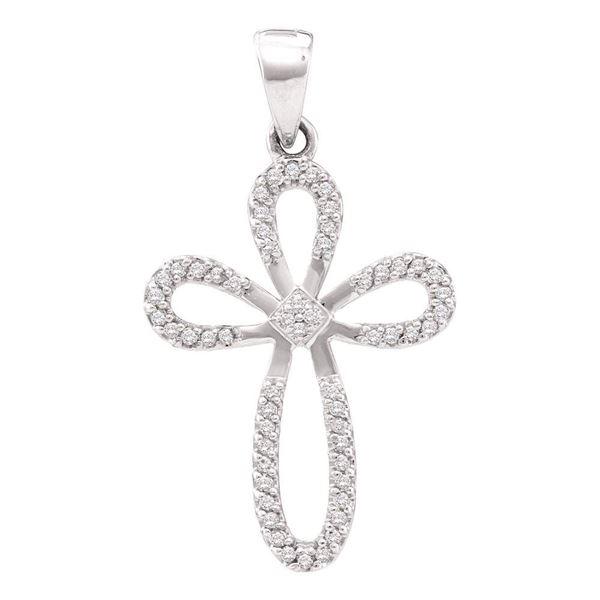 Round Diamond Cross Pendant 1/5 Cttw 10KT White Gold