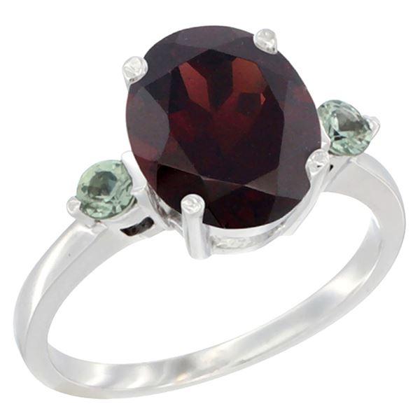 2.64 CTW Garnet & Green Sapphire Ring 10K White Gold - REF-27A3X