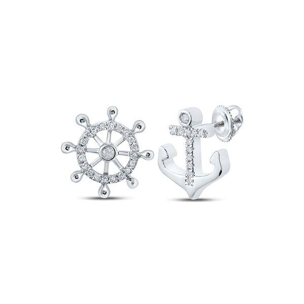 Round Diamond Anchor Wheel Stud Earrings 1/10 Cttw 10KT White Gold