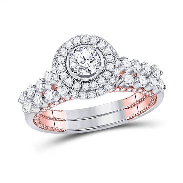 Diamond Bridal Wedding Ring Band Set 1-3/4 Cttw 14KT Two-tone Gold