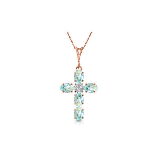 Genuine 1.75 ctw Aquamarine & Diamond Necklace 14KT Rose Gold - REF-44P7H
